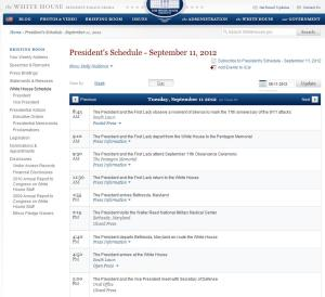 Official WH Schedule-9/11/2012  (Click to Enlarge)